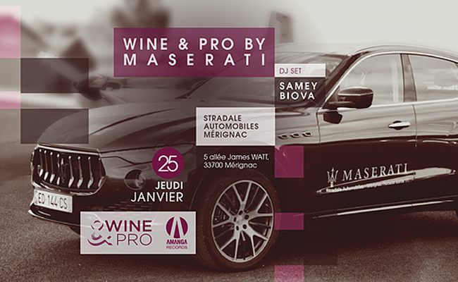 Wine and Pro au Showroom Maserati à Mérignac, Bordeaux